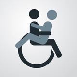 Icono plano sexo en silla de ruedas