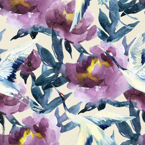 Hand painted watercolor peonies and crane birds - 103613316