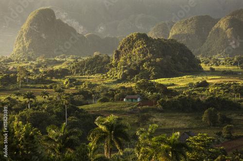 Foto op Plexiglas Rio de Janeiro Panoramic view over landscape with mogotes in Vinales Valley ,Cu