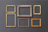 Set of vintage classic picture wood frame.