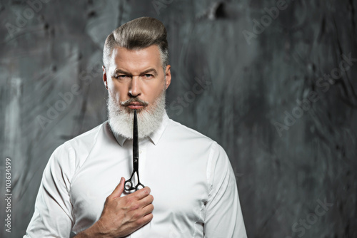 Concept for stylish adult man with beard Plakat