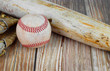 Old baseball equipment on rustic wooden background with copy space