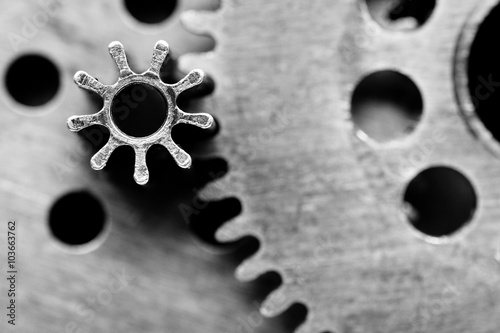 Black and white old mechanism with gears