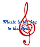Heart in a musical clef. Music is the key to the heart quote