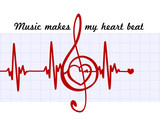 Heart in a musical clef with cardiogram.Music makes my heart beat