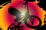Bmx illustration of a rider at a skatepark . © adamsharpphotography