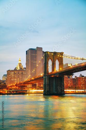 Foto Murales Lower Manhattan cityscape with the Brooklyn bridge