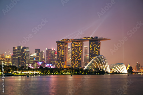 Singapore financial district with Marina Bay Sands Poster