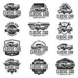 Fototapety Vector car logo set, retro car logo template