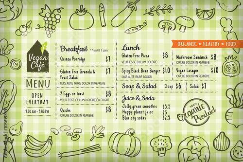 organic food vegan restaurant menu board or placemat template buy