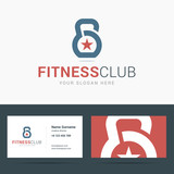 Fototapety Logo and business card template for fitness club.