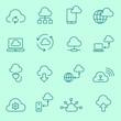 Cloud computing  icons, thin line, flat design
