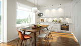 3D rendering of a modern light colored kitchen - 103700384
