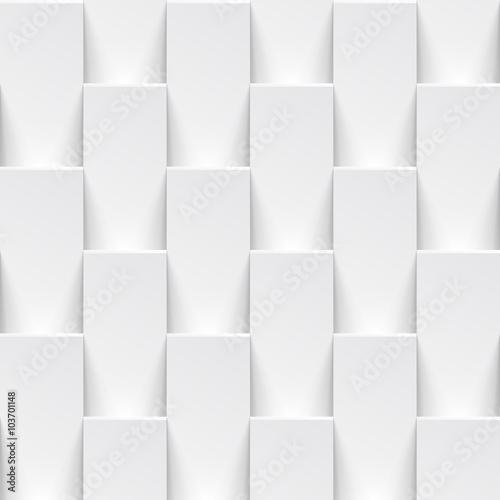 Vector white geometric tile 3D pattern background - 103701148