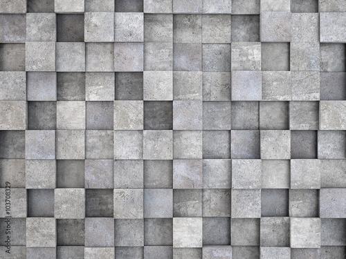 ściana z betonowych kostek