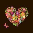 Decorative floral heart shape