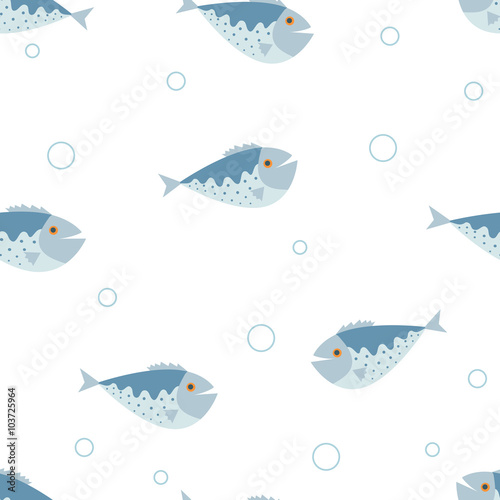 Fototapeta The seamless vector pattern with the blue fishes