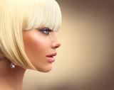 Fototapety Beautiful fashion blonde woman with bob haircut. Fringe hairstyle