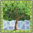 Vector green illustration of tree.