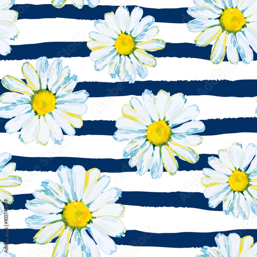 Daisies on the striped nautical background. Watercolor seamless pattern with wild summer flowers.