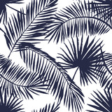Palm leaves silhouette on the white background. Vector seamless pattern with tropical plants.