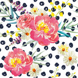 Spring bouquets with peonies on the background with dots. Watercolor seamless pattern. Pink, yellow flowers and floral elements.