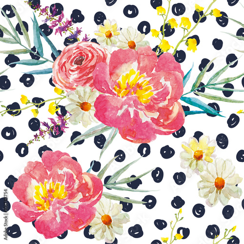 Spring bouquets with peonies on the background with dots. Watercolor seamless pattern. Pink, yellow flowers and floral elements. - 103748754