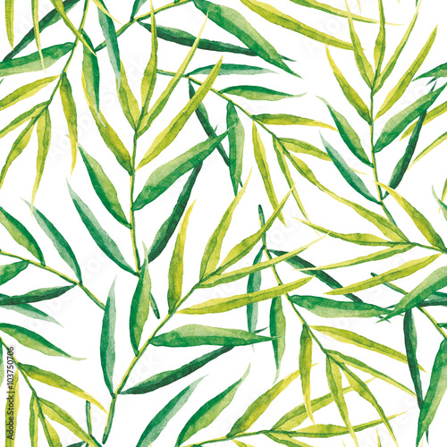 Green palm leaves on the white background. Watercolor seamless pattern with tropical plant. - 103750706