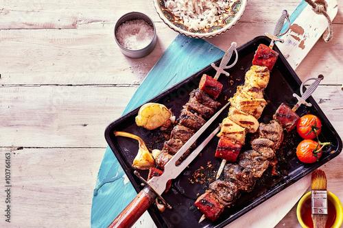 Plakat Grilled Meat Skewers with Fresh Ingredients
