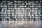 Fototapety Personal library with big bookcase and concrete floor