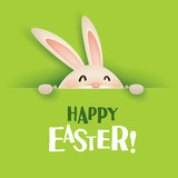 Happy Easter! Easter bunny with big sign. - 103800963