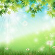 Spring background with white dandelions in grass