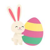 Bunny hugging an Easter egg