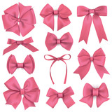 Big set of realistic pink gift bows and ribbons