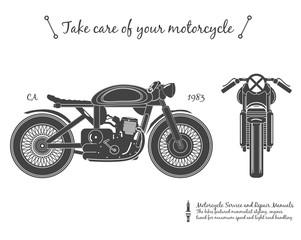vintage motorcycle. cafe racer theme © metr1c