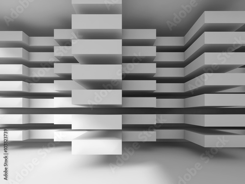 White modern architecture background, digital 3d