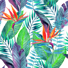 Tropical leaves seamless pattern. Floral design background.