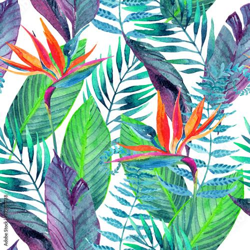 Obraz Tropical leaves seamless pattern. Floral design background.