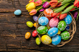 Easter eggs and tulips on wooden planks - Fine Art prints