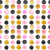 pattern of gold and pink dots. watercolor hand drawn