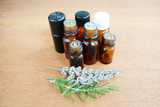 Fototapety essential oils bottles and herbs