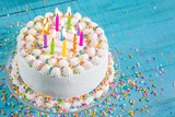 Fototapety Colorful Birthday Cake with Candles