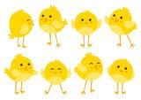 Set of cute cartoon chickens