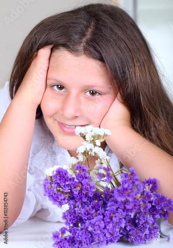Poster young schoolgirl