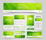 Set of green corporate style polygonal - 103860317