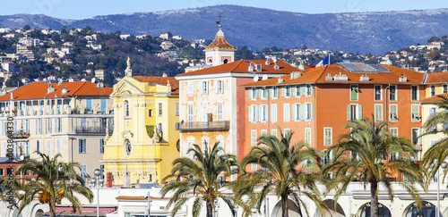 Spoed canvasdoek 2cm dik Nice NICE, FRANCE, on JANUARY 13, 2016. City landscape. Promenade des Anglais. Winter day.