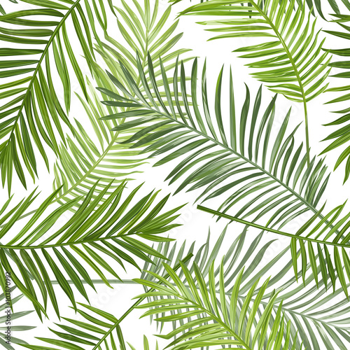 Seamless Tropical Palm Leaves Background - for design, scrapbook