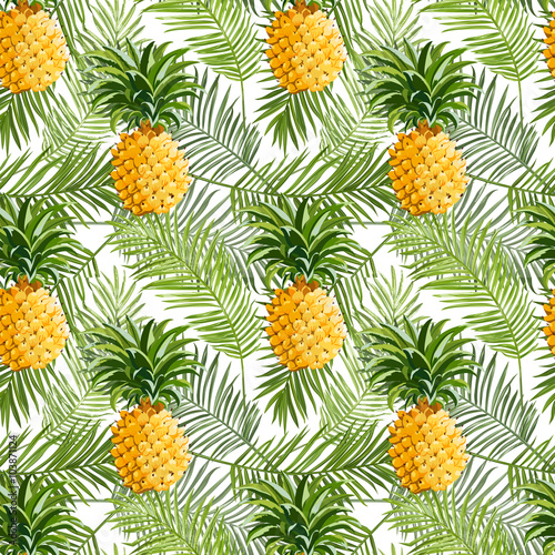 Panel Szklany Tropical Palm Leaves and Pineapples Background - Seamless Pattern