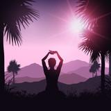 Yoga female in tropical landscape