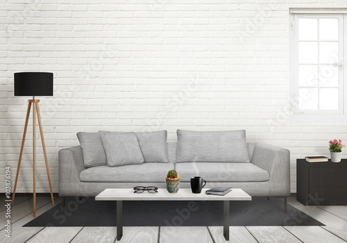Room interior with free space on the wall for picture. Window, sofa, lamp, plant and table inside.